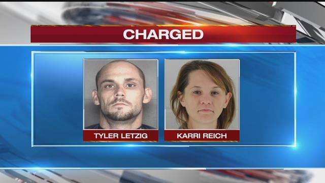 Tyler Letzig and Karri Reich face three charges each of kidnapping, aggravated endangerment of a child and theft. (Wyandotte County Jail)