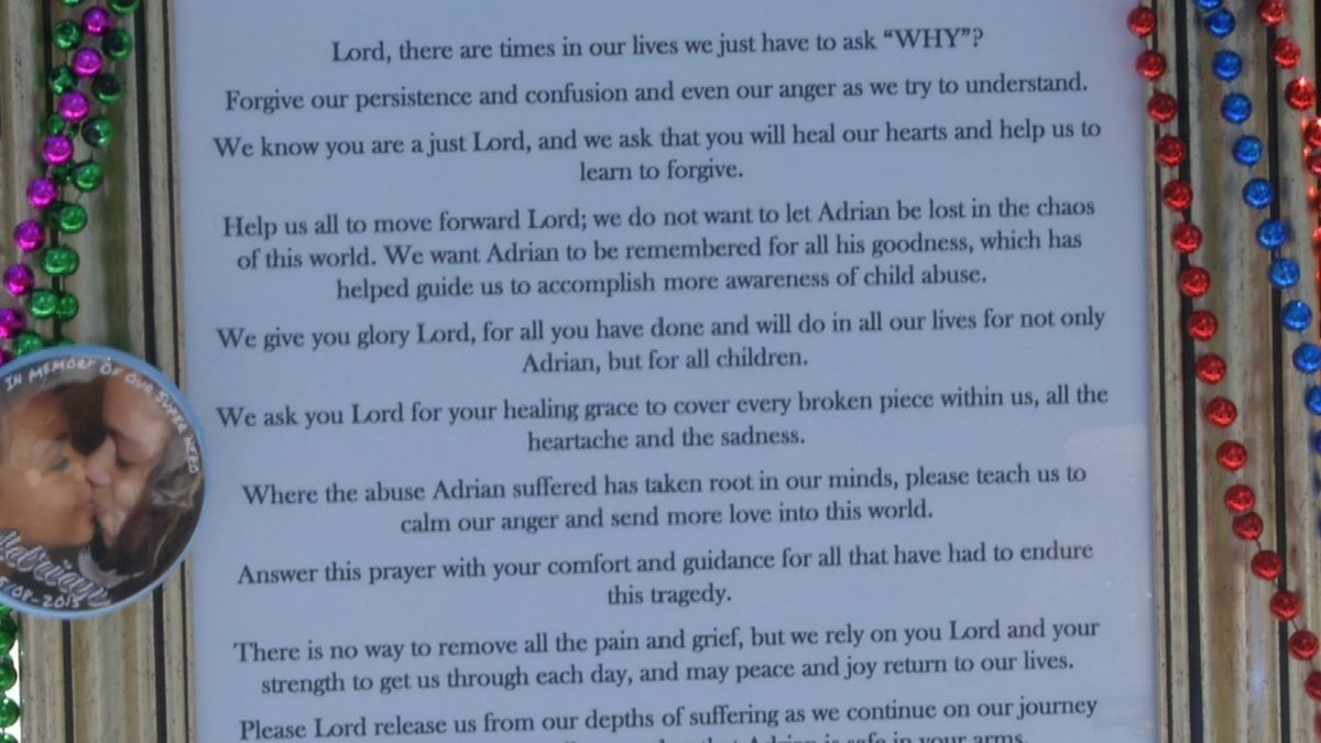Adrian's sister Keiona Doctor wrote a prayer and his grandmother read it aloud at the event. (KCTV)