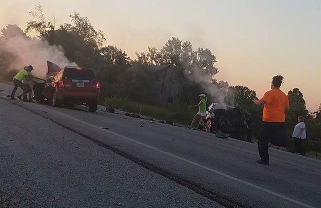 Two people are dead after a crash Monday morning on Kansas Highway 68 west of Louisburg. (Darla Hackney-Hines)