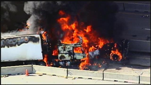 Crews are on scene of a large fire on eastbound Interstate 435 and 69 Highway in Johnson County.(Chopper 5)