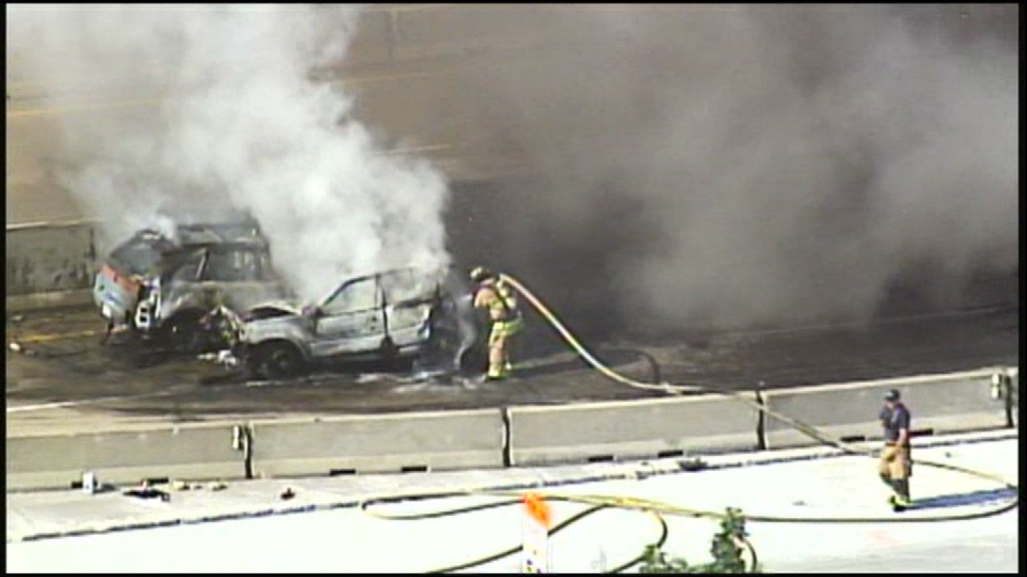 Concrete barriers are on both sides of nearly every lane of Interstate 435. On Monday, five vehicles were stuck. Fire and smoke enveloped the scene after a crash. (KCTV5)