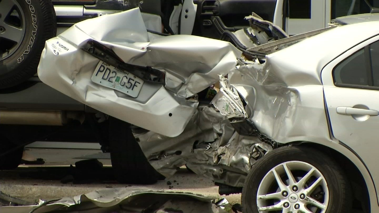 Smashed cars and broken street signs mark the trail of destruction left after a police pursuit through Raytown.(KCTV5)