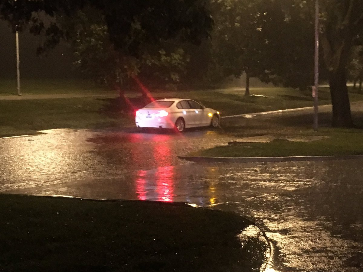 A car was stuck along Ward Parkway during Saturday night's storms. (Abigael Jaymes/KCTV5)