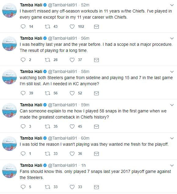 A screenshot of a portion of Hali's tweets.