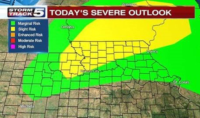 If stronger storms do persist, Suchan says there could be brief wind gusts, torrential rain, hail and frequent lightning. (KCTV5)