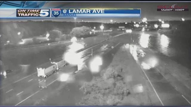 Southbound lanes of I-35 at Lamar Avenue is completely closed due to flooding Thursday morning. (KCScout)