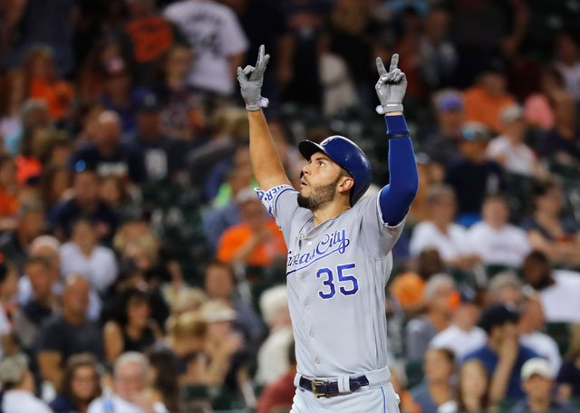 Kansas City Royals' Eric Hosmer gestures after a grand slam against the Detroit Tigers during the seventh inning of a baseball game Wednesday, July 26, 2017, in Detroit. (AP Photo/Paul Sancya)