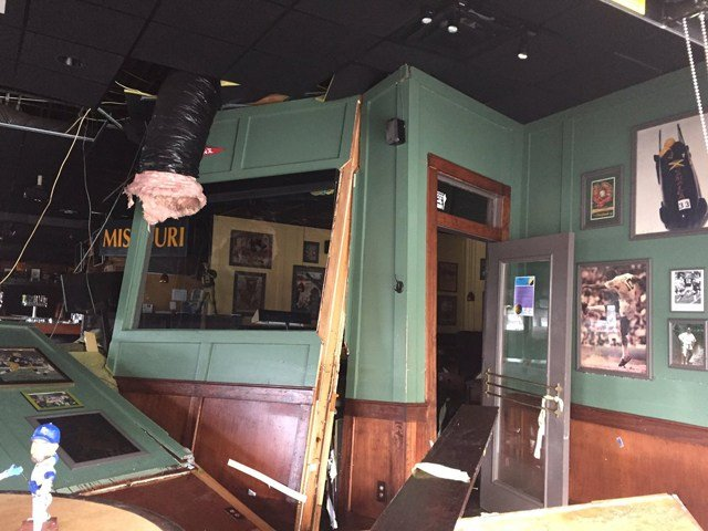 Coach's Bar & Grill felt the effects of the flooding, after the waters of Indian Creek rose to record levels and collapsed one of the walls of the bar. (KCTV5)