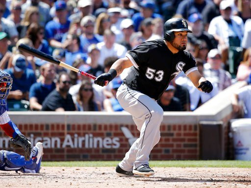 Chicago White Sox's Melky Cabrera singles off Chicago Cubs starting pitcher Kyle Hendricks during the fifth inning of a baseball game Monday, July 24, 2017, in Chicago. (AP Photo/Charles Rex Arbogast)