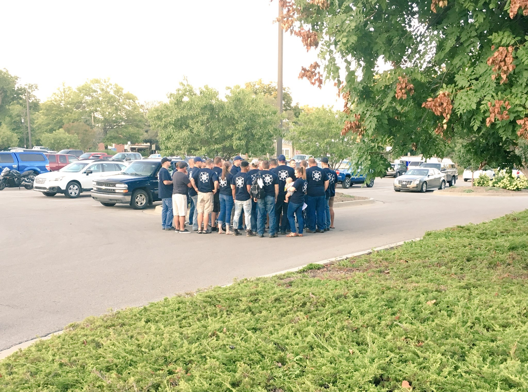 A show of solidarity by the Olathe Fire Department after its union president addressed city council about public safety concerns. (Rudy Harper)