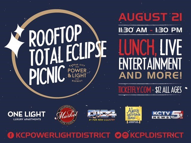 Join KCTV5 as we broadcast live from the Rooftop Total Eclipse Picnic on the Rooftop Park at One Light Luxury Apartments on Aug. 21 from 11:30 a.m. to 1:30 p.m. (Cordish Living)