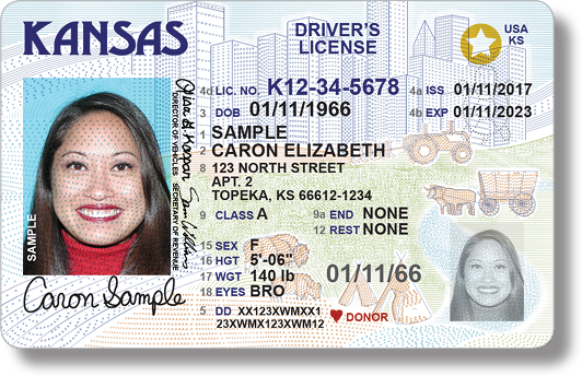 Kansas has a new driver's license design, specifically formatted to comply with approaching federal ID requirements for airport security purposes. (KS Dept. of Revenue)