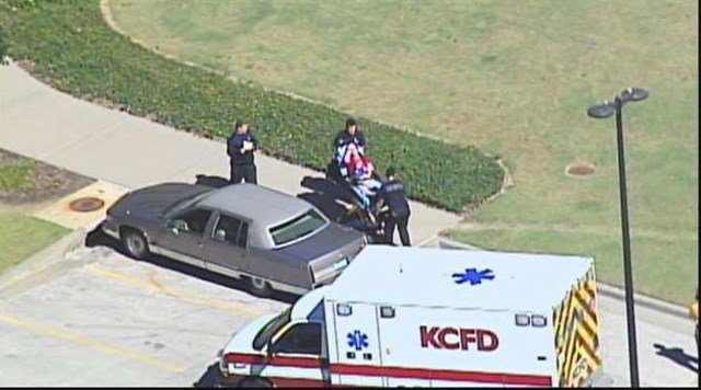 At least one person was taken from the building on a stretcher. (KCTV5)