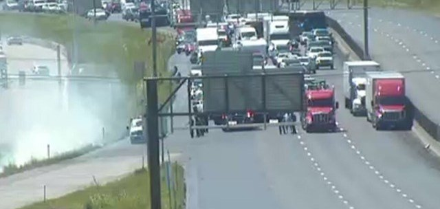 The accident happened before 12:30 p.m. on Interstate 29 near Barry Road. (MoDOT)