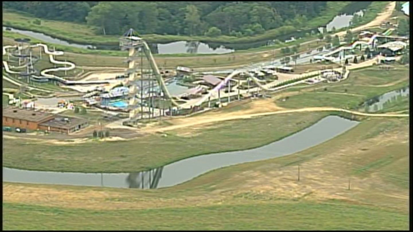 A year later, the Verruckt waterslide is still standing, though the ride remains closed to the park's patrons. (Chopper 5)