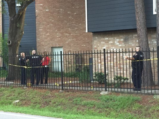 Deputies at the scene of an apartment compelx where a newborn baby was reportedly found in the bushes. (KHOU)