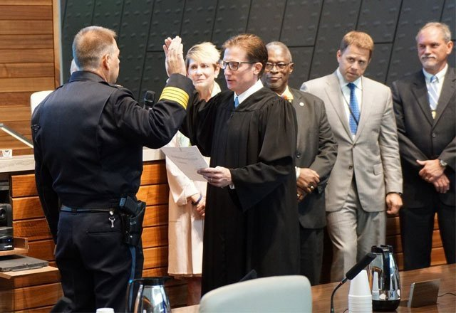 Kansas City Police Department Major Rick Smith, a 29-year law enforcement veteran, was sworn in at about 9:35 a.m. (KCTV5)