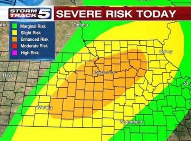 Storms later today and tonight could become strong to severe