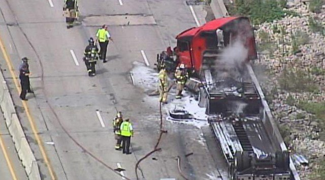 Semi driver suffers only minor injuries in fiery Kansas crash