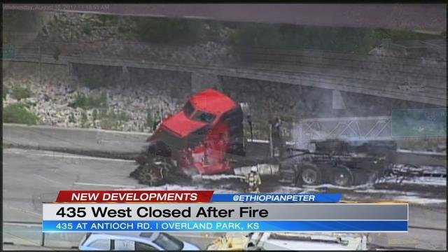 WB I-435 at Antioch in Overland Park closed overnight after fiery semi crash