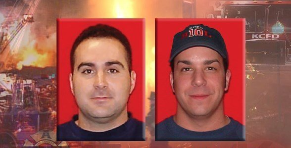 John Mesh and Larry Leggio were caught under a brick wall as it collapsed in a two-alarm fire near Independence and Prospect avenues on Oct. 12, 2015. (KCTV5)