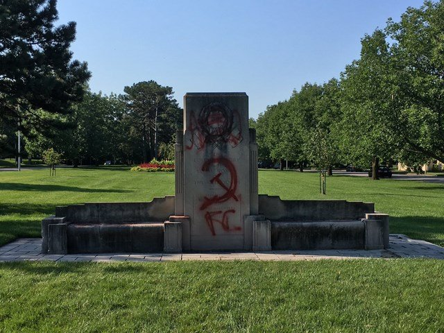 Vandals painted over the UDC letters on the monument over the past weekend. A hammer and sickle were also painted on the monument. (KCTV5)