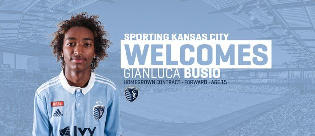 At 15 years and 89 days, Busio becomes the second-youngest player all-time to sign an MLS contract and the youngest active player in Major League Soccer. (Sporting KC)