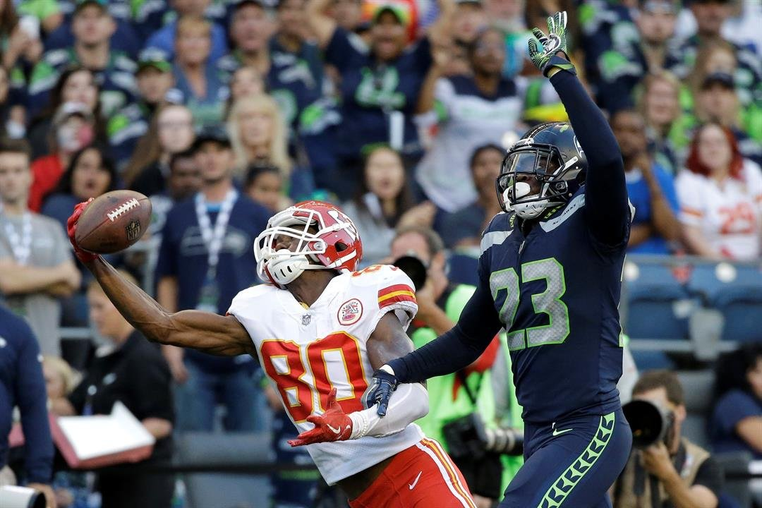 Kansas City Chiefs wide receiver Jehu Chesson (80) is unable to catch a pass as Seattle Seahawks defensive back Neiko Thorpe (23) grabs his arm during the second half of an NFL football preseason game, Friday, Aug. 25, 2017, in Seattle. (AP)