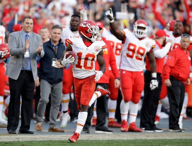 Tyreek Hill is the obvious choice to take a leap forward in his second year. (AP)
