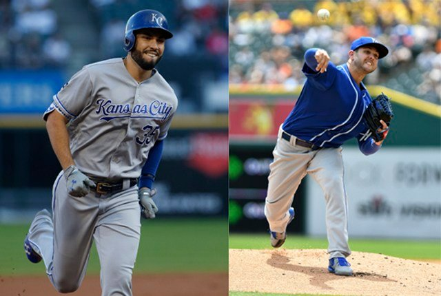 The Kansas City Royals announced Friday that first baseman Eric Hosmer and right-handed pitcher Jakob Junis have been named Royals Player and Pitcher of the Month, respectively, for the month of August. (AP)