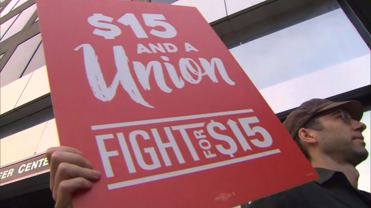 Hundreds of protesters in both of Missouri's big cities call for higher pay and better treatment during Labor Day rallies. (CBS)