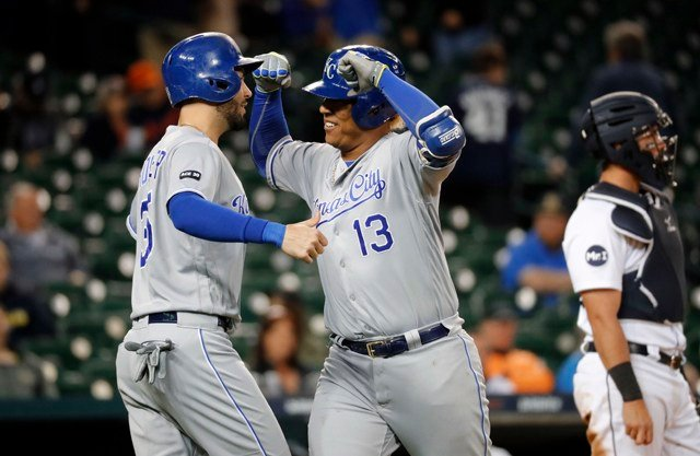 Perez drove in three runs, while Whit Merrifield had three doubles and three RBIs. (AP)