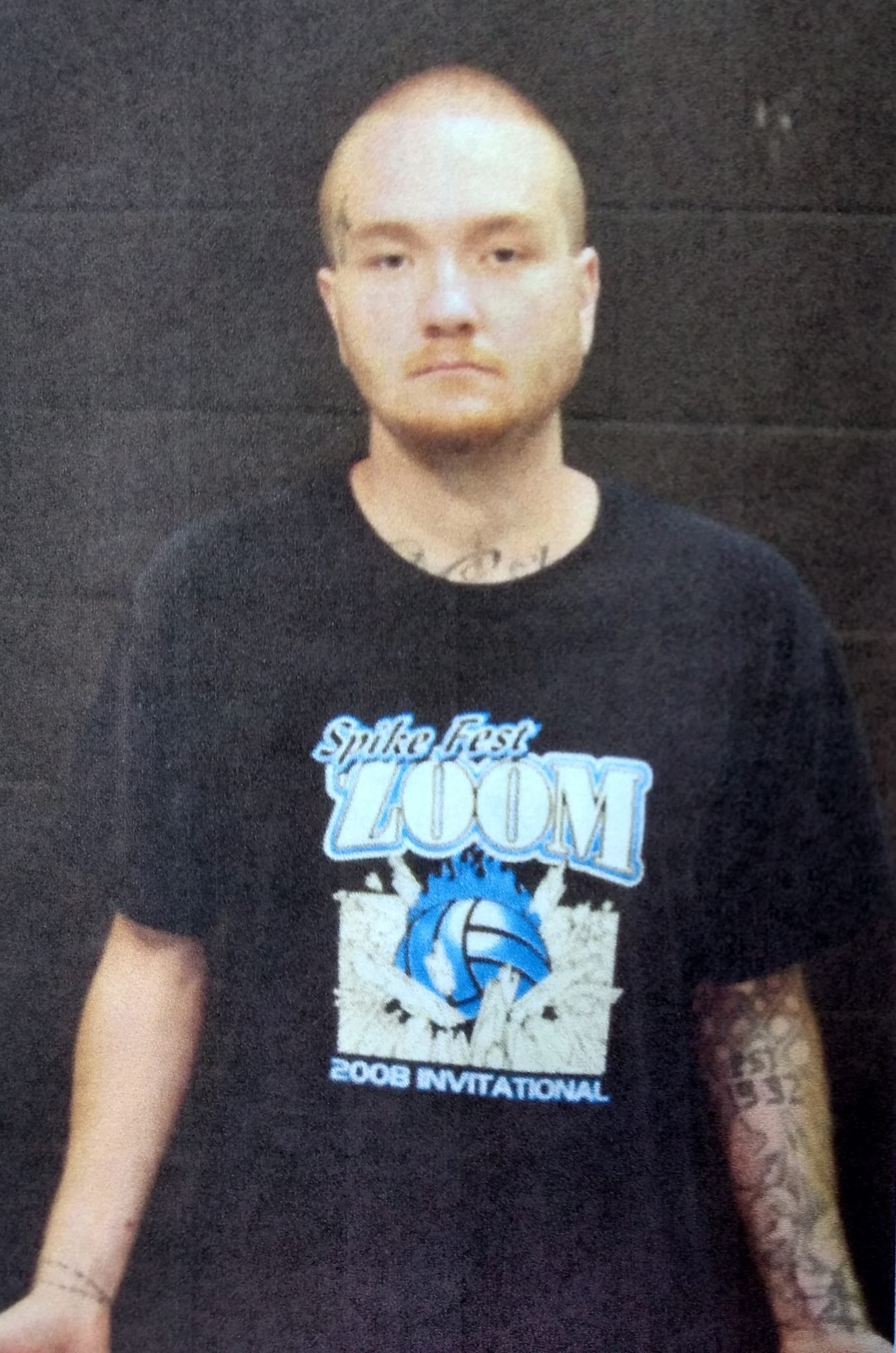 Another picture of Zachary Barnes where his tattoos can be seen. (Via KWCH)