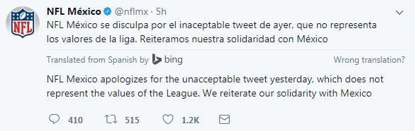 "The NFL has apologized for an ""unacceptable"" tweet with three smiley emojis that likened the Kansas City Chiefs' big victory over the New England Patriots to a deadly earthquake that shook Mexico. (Twitter)"