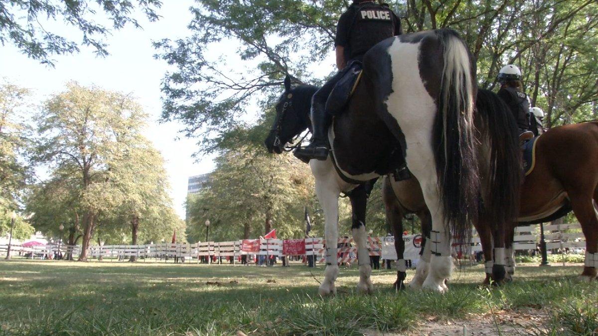 Some officers at the protest were on horseback. (Natalie Davis/KCTV)