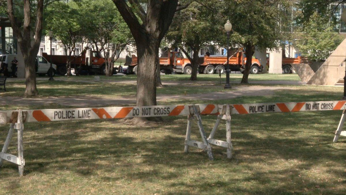 City trucks were used to create a blockade. (Natalie Davis/KCTV)