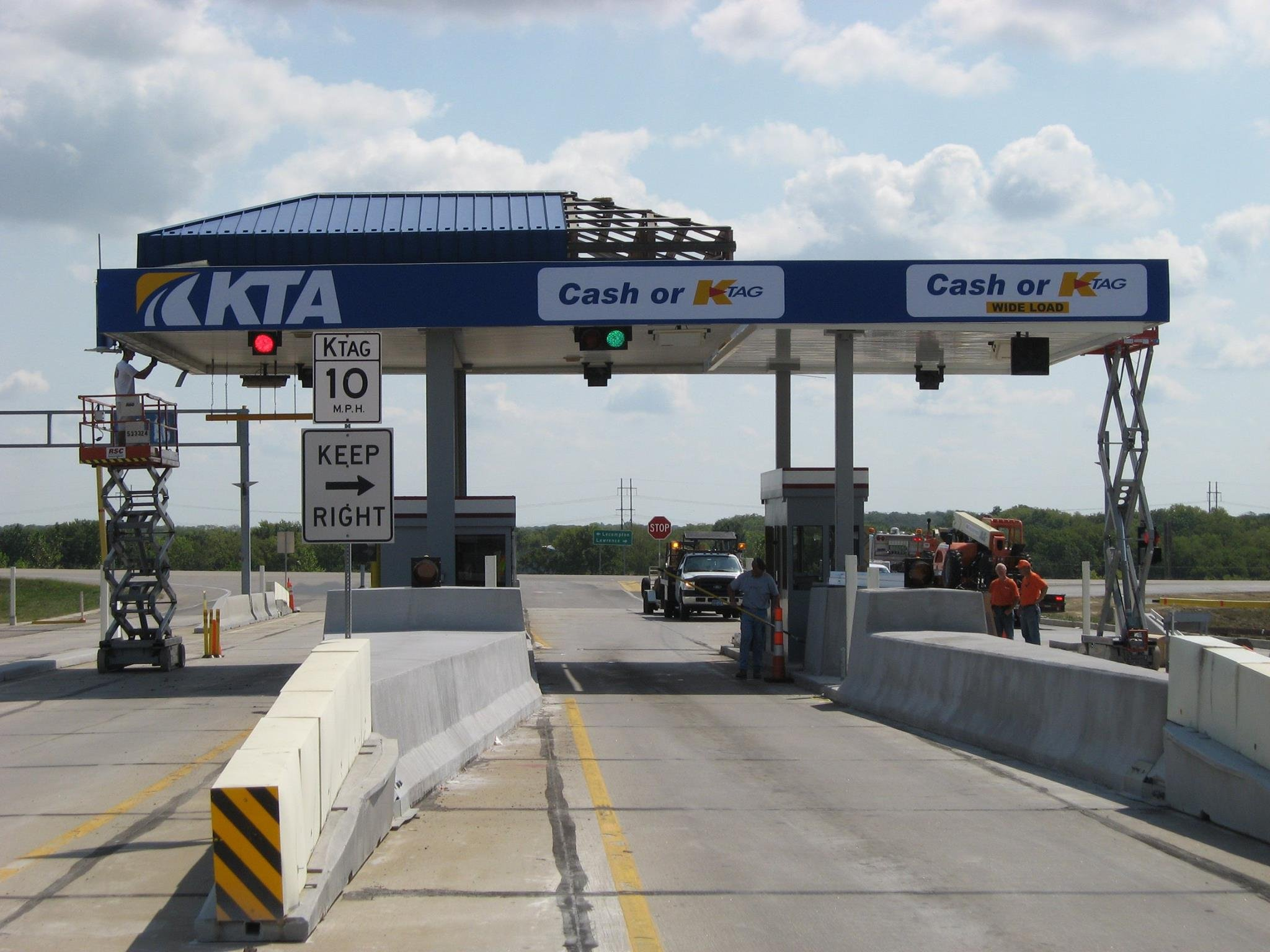 A lane that allows drivers to pass through tollbooths without slowing down has opened at the Kansas Turnpike's eastern terminal. (Kansas Turnpike Authority/Facebook)