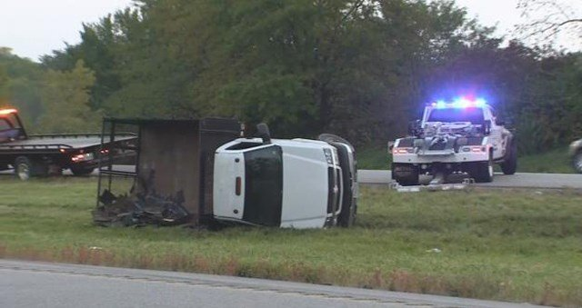 The crash happened about 6:15 a.m. in thesouthbound lanes of Interstate 435 north of 96th Street. (KCTV5)