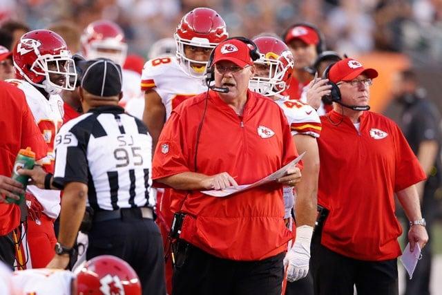 Kansas City Chiefs head coach Andy Reid works the sidelines in the first half of an NFL preseason football game against the Cincinnati Bengals, Saturday, Aug. 19, 2017, in Cincinnati. (AP Photo/Gary Landers)