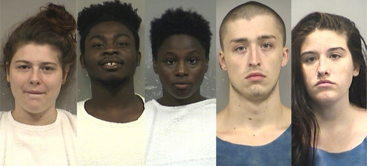 From left to right: 20-year-old Leann B. Howe, 19-year-old Mikeal Farr, 19-year-old Miriah Farr, 20-year-old Tanner Stone, and 18-year-old Madison Lambson. (KCPD, KCTV)