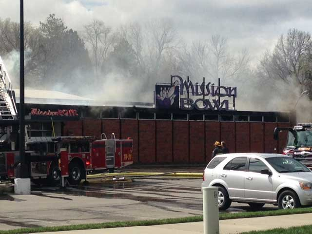 Mission Bowl caught fire at 10:42 a.m. on April 3, 2015. (KCTV5)