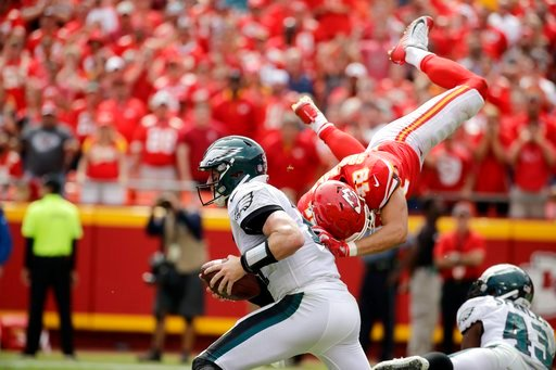 Like Superman, Daniel Sorensen flew towards Eagles quarterback Carson Wentz. (AP)
