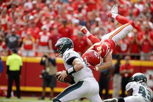 Like Superman, Daniel Sorensen flew towards Eagles quarterback Carson Wentz. (AP)