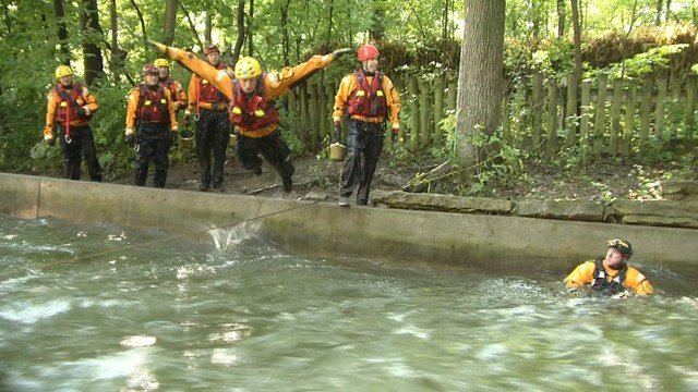 The water rescue team comes to the water park once a year to train for potential deadly situations in rushing water. (KCTV5)
