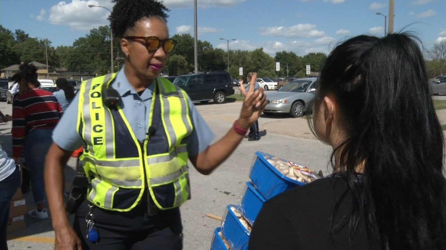 KCTV5 crews tagged along with the department when they helped with a Harvesters food drive at Schlage High School. (KCTV5)