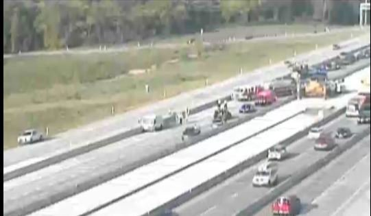 The wreck happened about 8 a.m. Wednesday on Interstate 435 near U.S. Highway 69. (KC Scout)