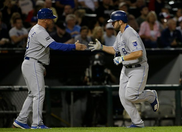 Moustakas went 3 for 4 and came within a triple of hitting for the cycle. He eclipsed Balboni's 1985 record with a solo blast to right off Carlos Ramirez in the sixth. (AP)