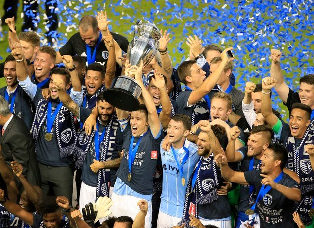 The fast-paced match featured plenty of chances by both Major League Soccer clubs, but it was the pint-sized Blessing whose header in the 25th minute that put Sporting KC ahead to stay. (AP)