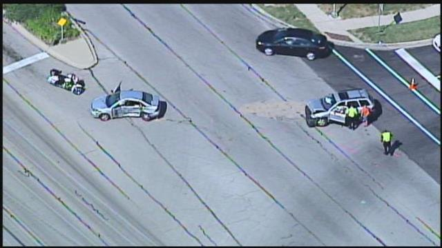 Overland Park police responded to an injury accident at 11:16 a.m. Friday on College Boulevard at Westgate involving two vehicles. (Chopper5)