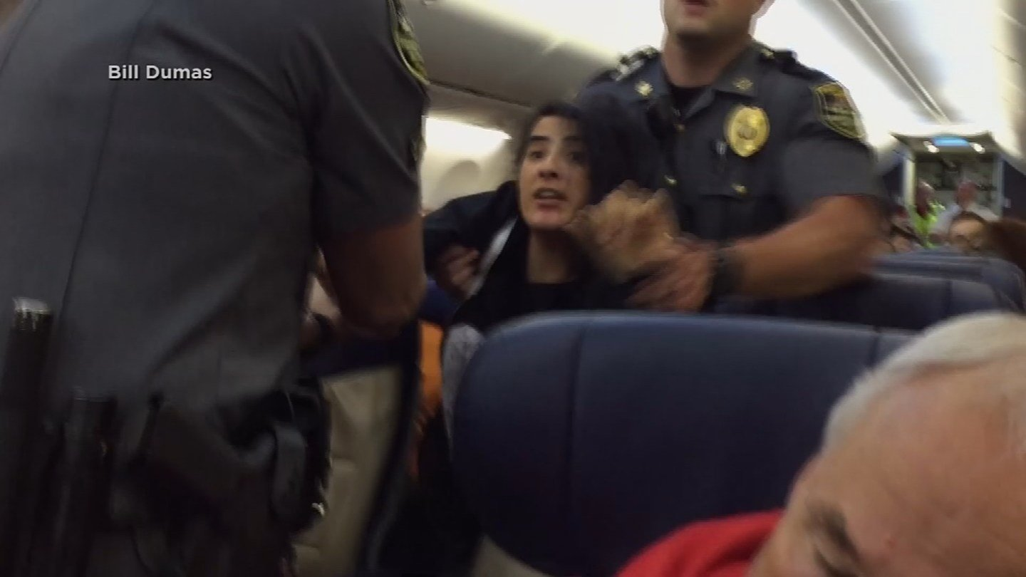 A woman on a Southwest Airlines flight from Baltimore to Los Angeles was dragged off the plane on Tuesday. (CBS)